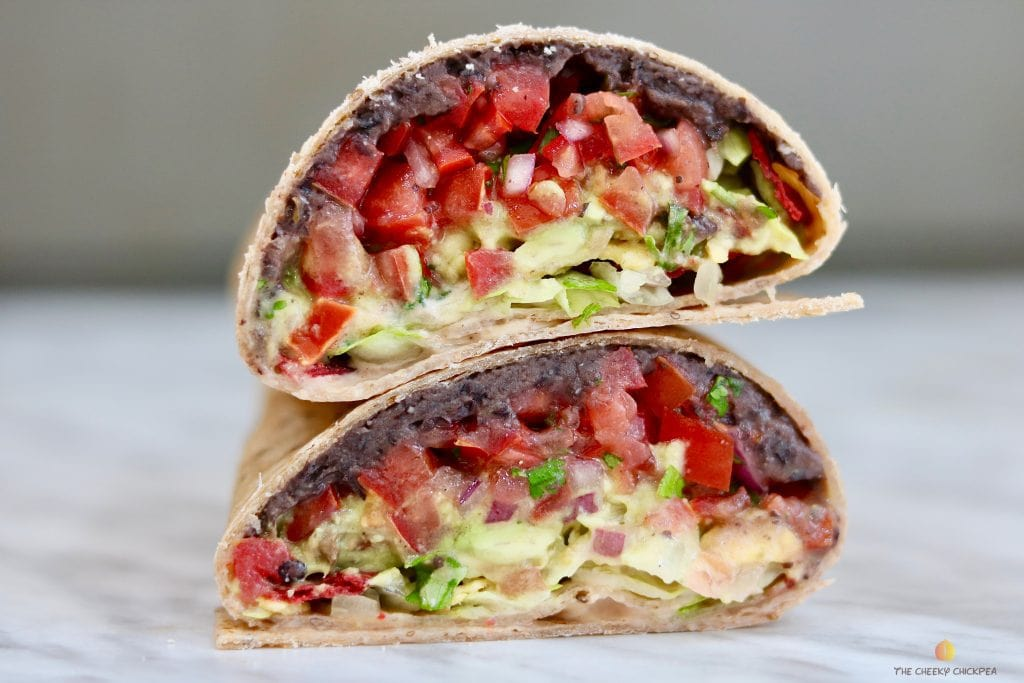 vegan crunchwrap supreme slice in half