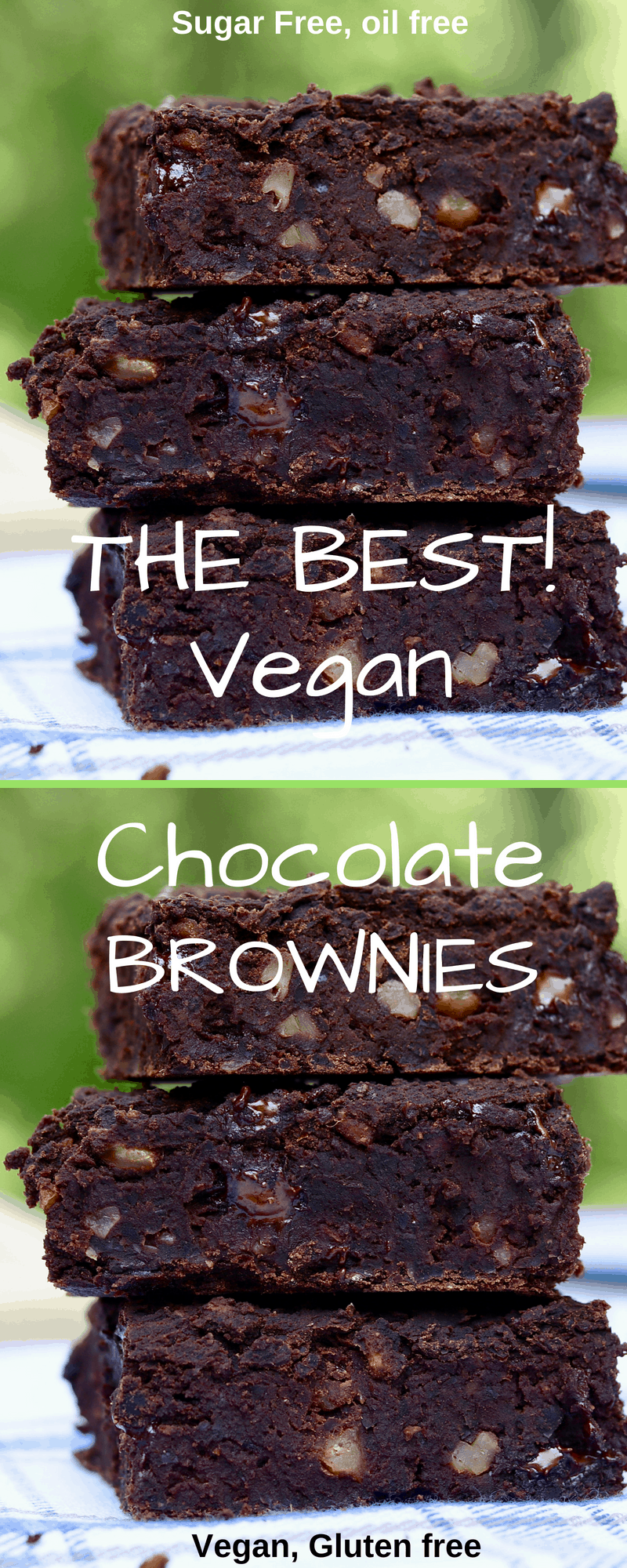 vegan black bean brownies on a white and blue cloth