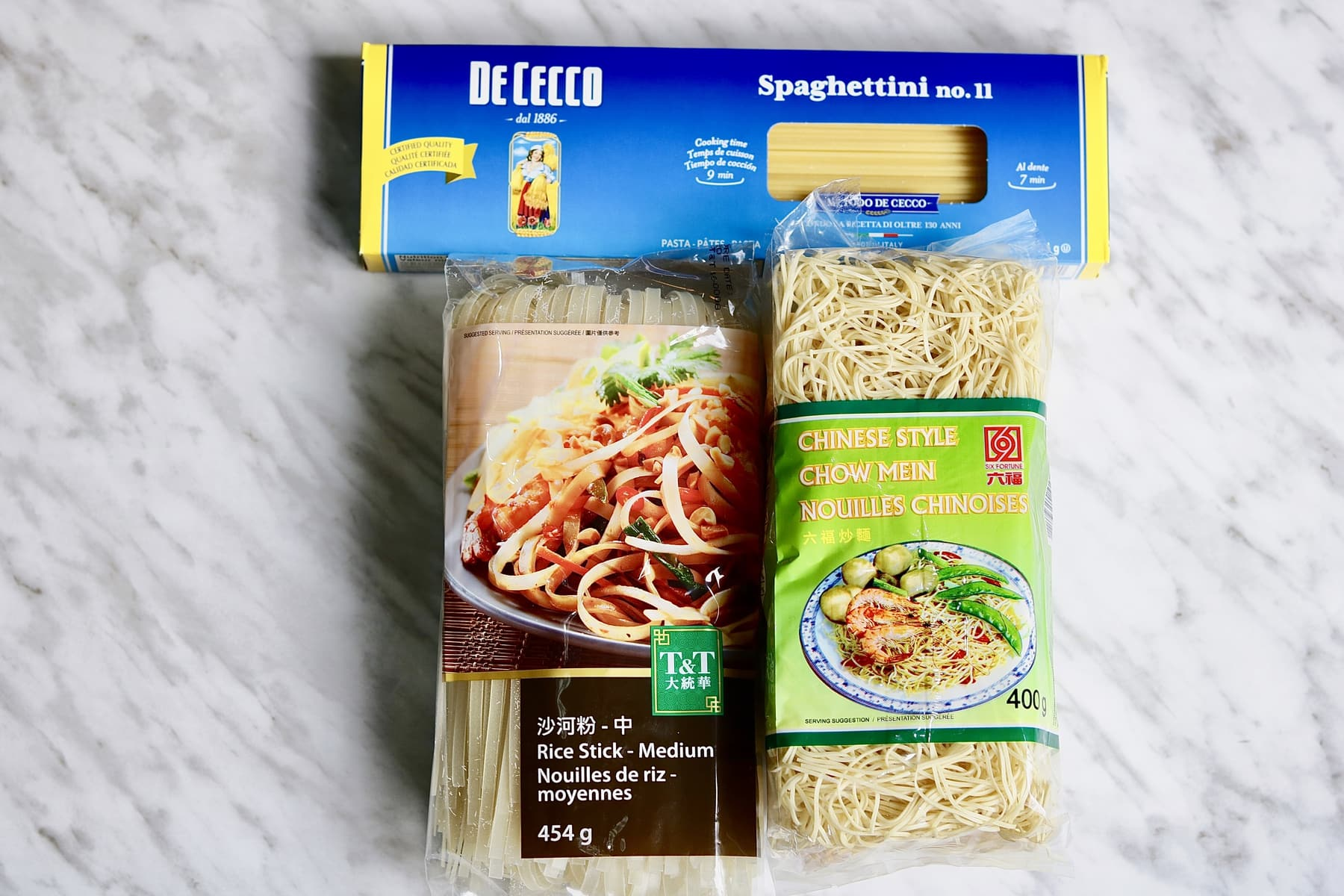 three different varieties of vegan noodles for vegetable chow mein
