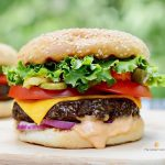 best vegan burger recipe on wooden cutting board