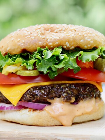 best vegan burger recipe on wooden cutting board