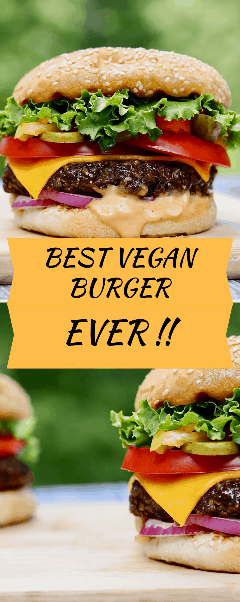 best vegan burger on a wooden cutting board