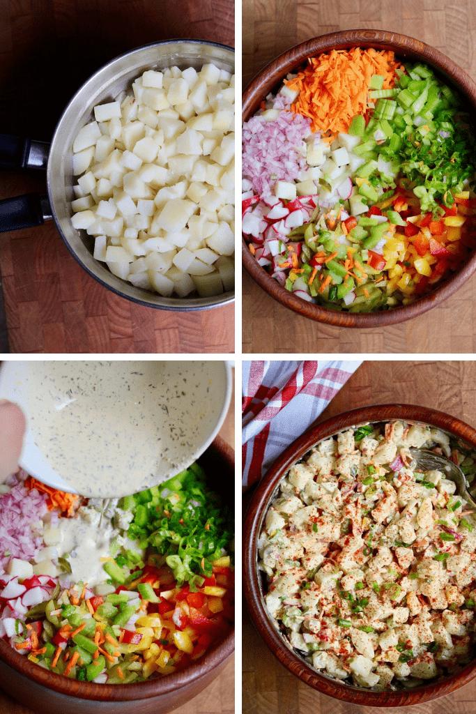 step by step photos how to make vegan potato salad