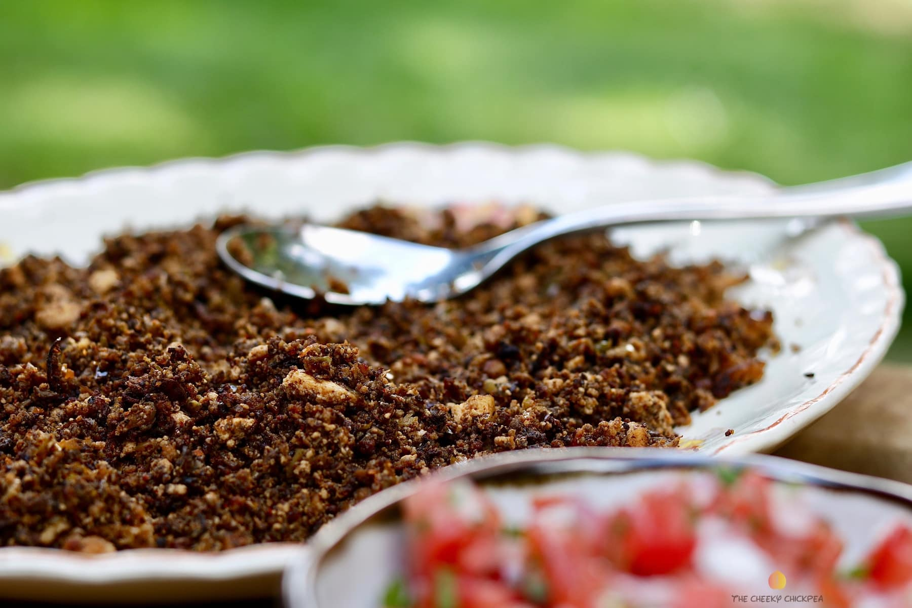 tasty tex mex vegan taco meat recipe on a white plate