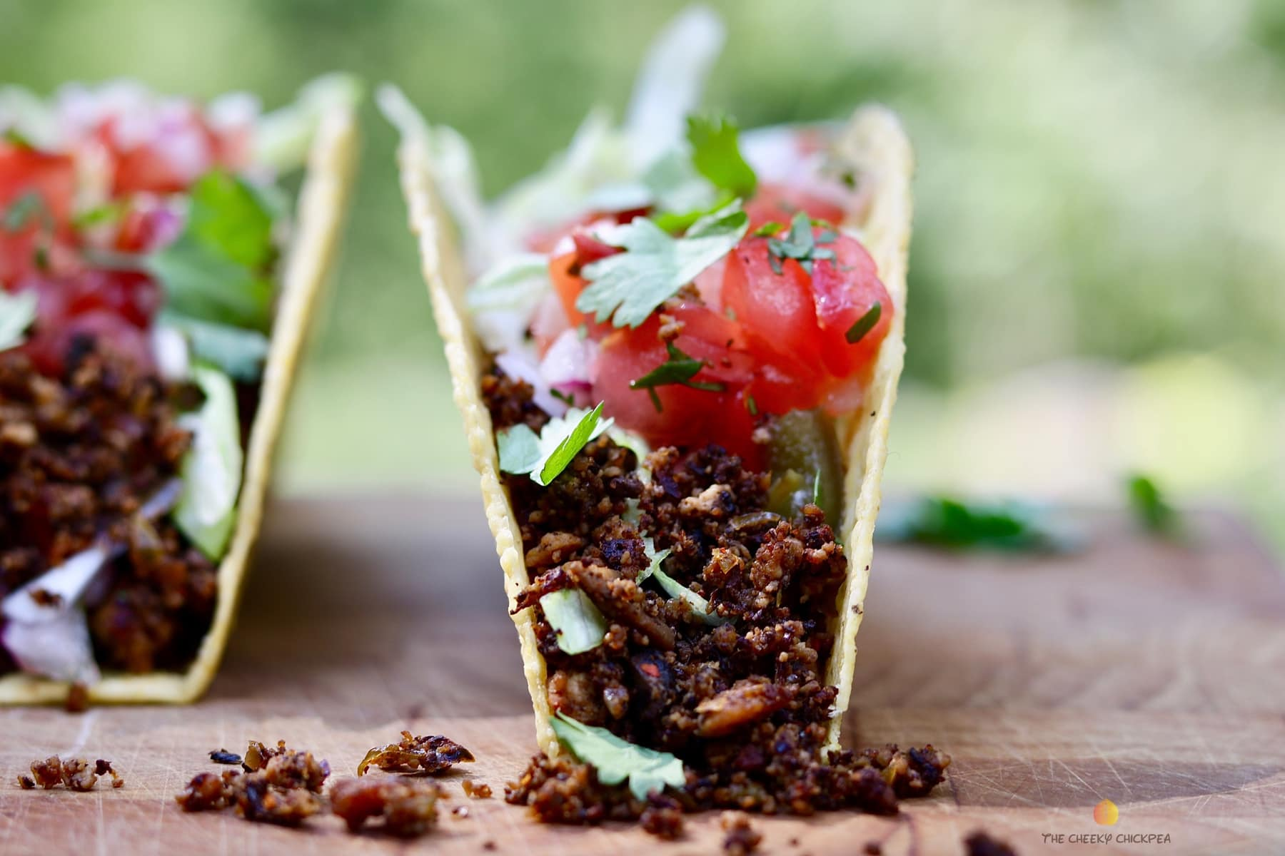 Tasty Tex Mex Vegan Taco Meat Recipe on a wooden cutting board