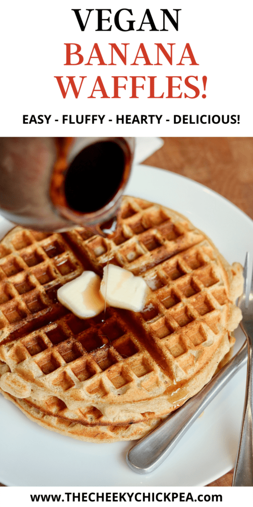 vegan banana waffles on a plate with butter and syrup