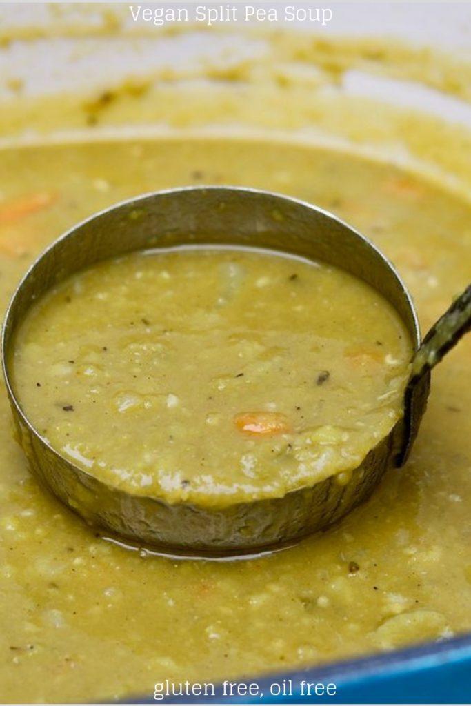 vegetarian split pea soup in a pot