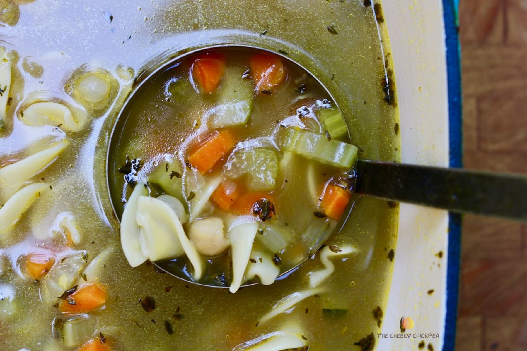 classic vegan chicken noodle soup in a pot