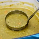 vegetarian split pea soup in a pot
