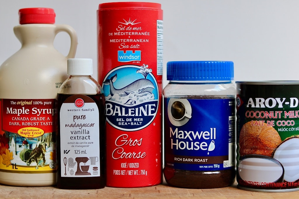 best vegan caramel sauce ingredients on counter