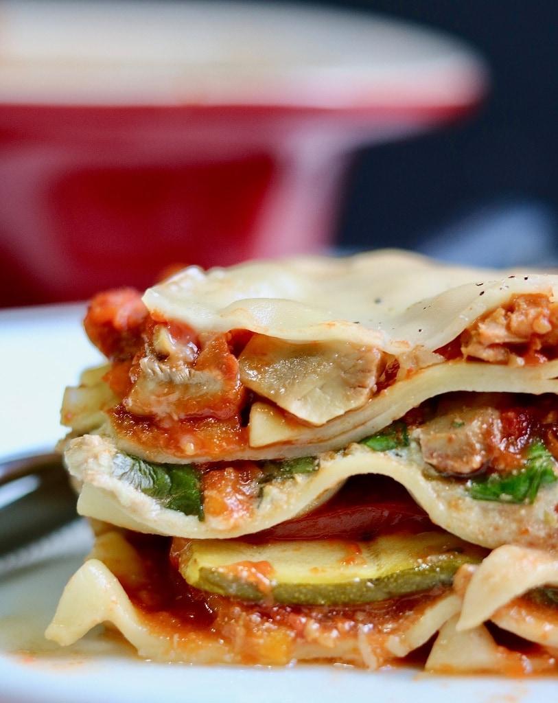 vegan lasagna on a white plate