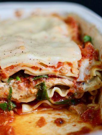 vegan lasagna in a casserole dish