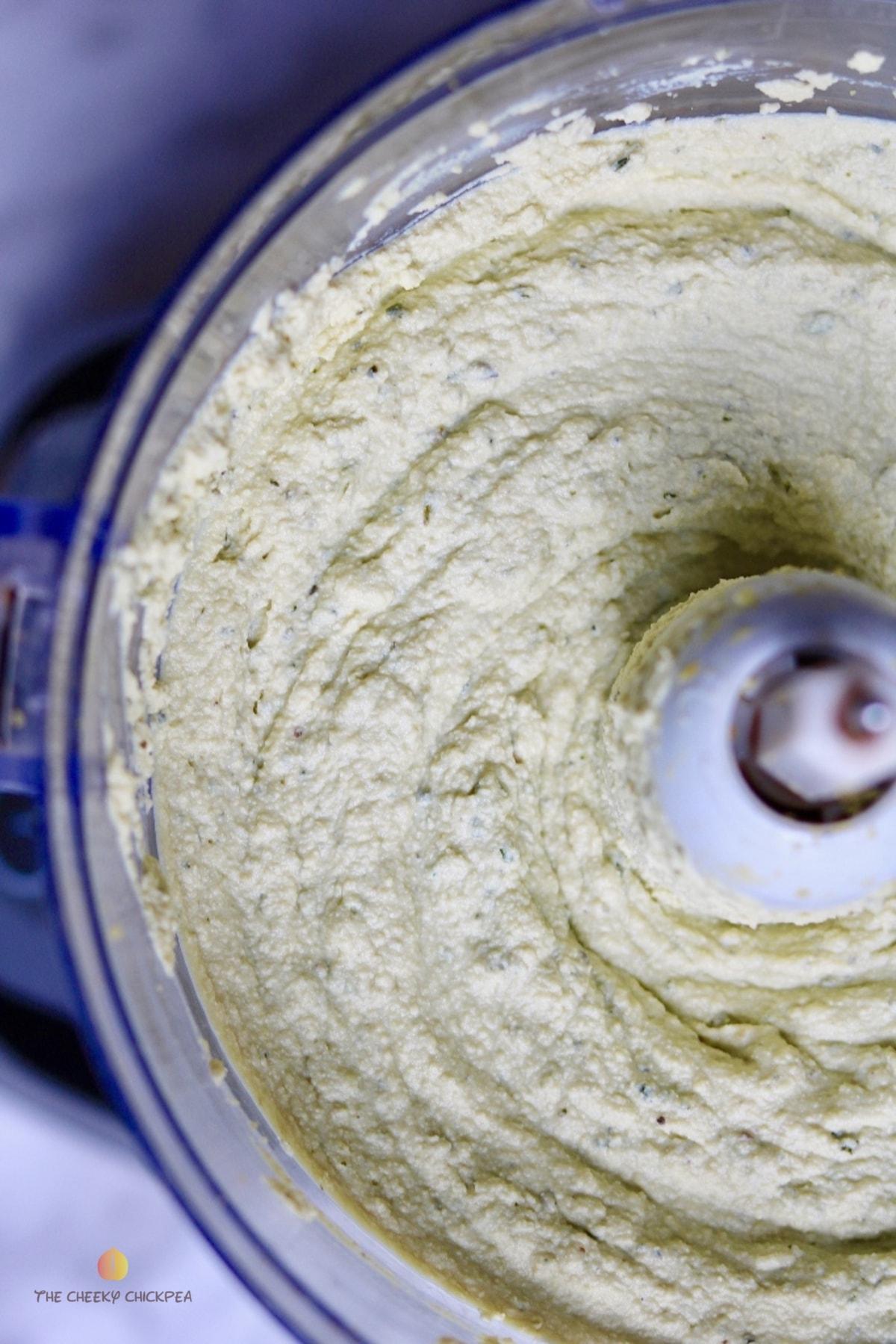 vegan ricotta cheese in a food processor