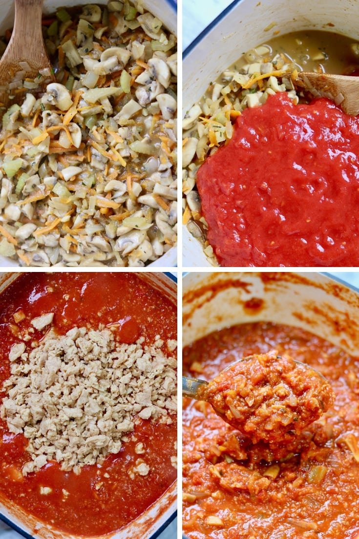 four picture collage hearty vegan bolognese being made in a pot
