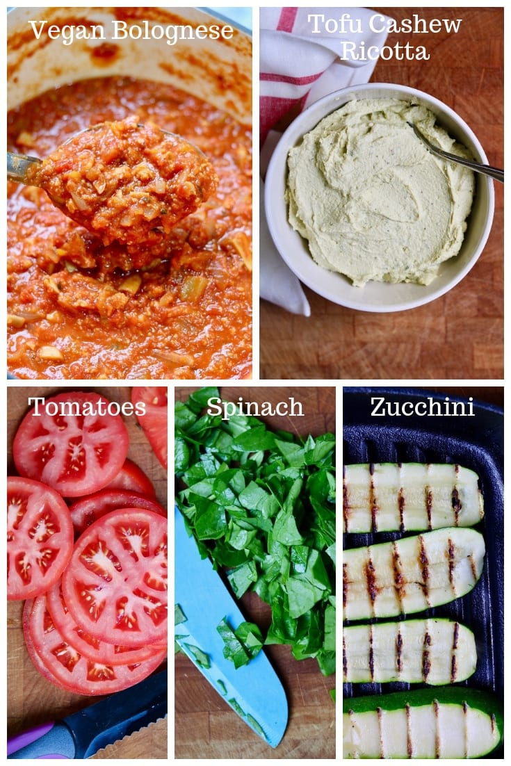 vegan lasagna ingredients bolognese sauce tomatoes zucchini spinach ricotta sauce
