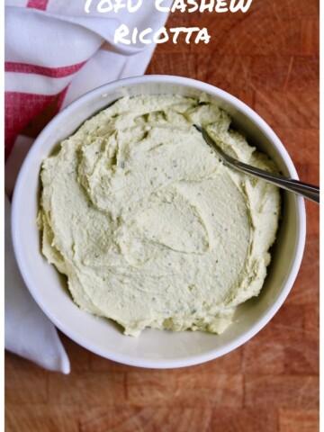 vegan ricotta cheese on a white bowl