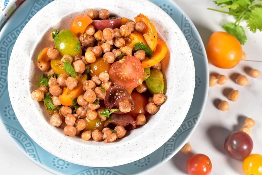 40 delicious & healthy vegan salad recipes picture of chickpea tomato salad for recipe roundup