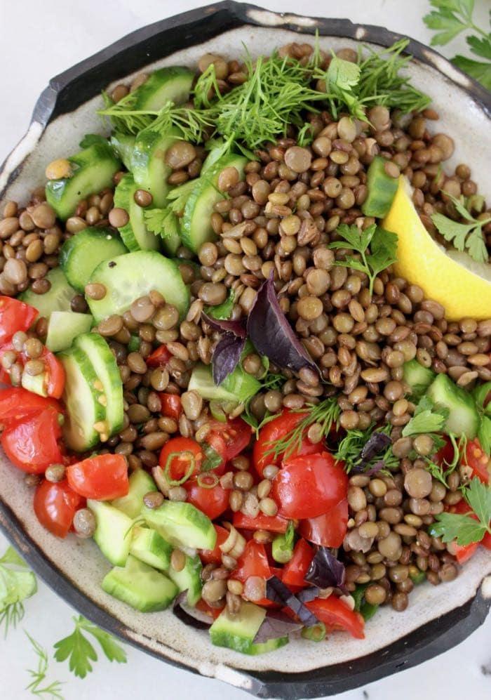delicious & healthy vegan salad recipes picture of cucumber tomato lentil salad for recipe roundup