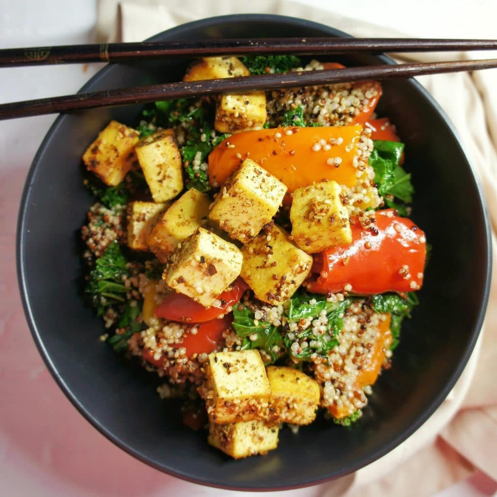 40 delicious & healthy vegan salad recipes picture of Dukkah tofu salad for recipe roundup