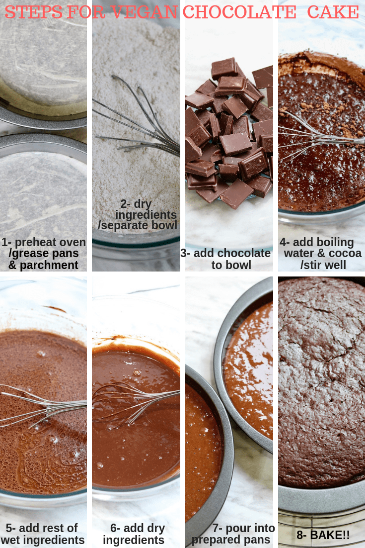 how to make vegan chocolate cake collage
