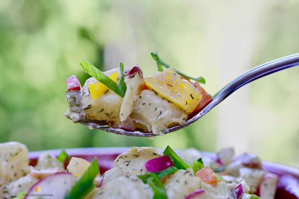 40 delicious & healthy vegan salad recipes picture of potato salad from recipe roundup