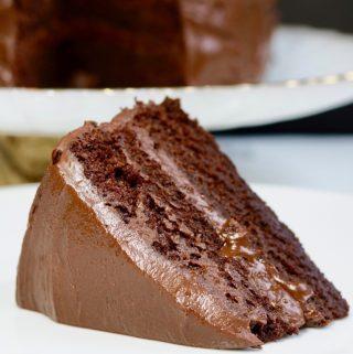 vegan chocolate cake recipe on a white plate