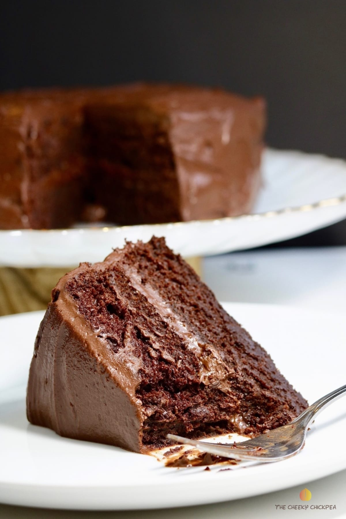 vegan chocolate cake recipe on a white plate with a fork