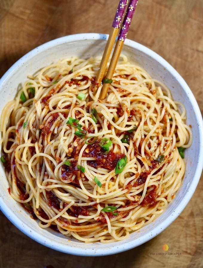 sweet & spicy garlic noodles in a white bowl