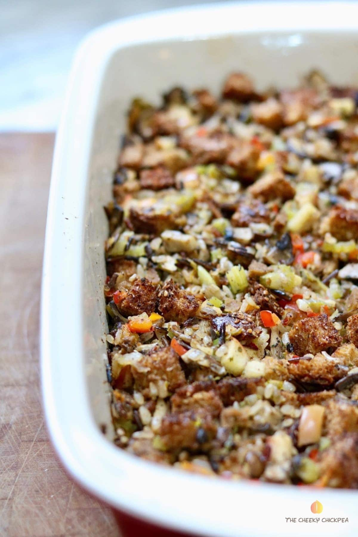 perfect vegan stuffing in a casserole dish