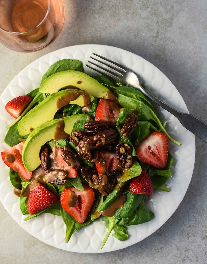 40 delicious & healthy vegan salad recipes picture of strawberry avocado salad for recipe roundup