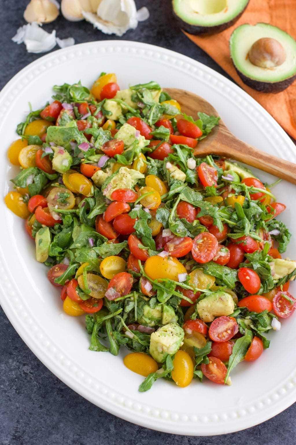 40 delicious & healthy vegan salad recipes picture of avocado tomato salad for recipe roundup