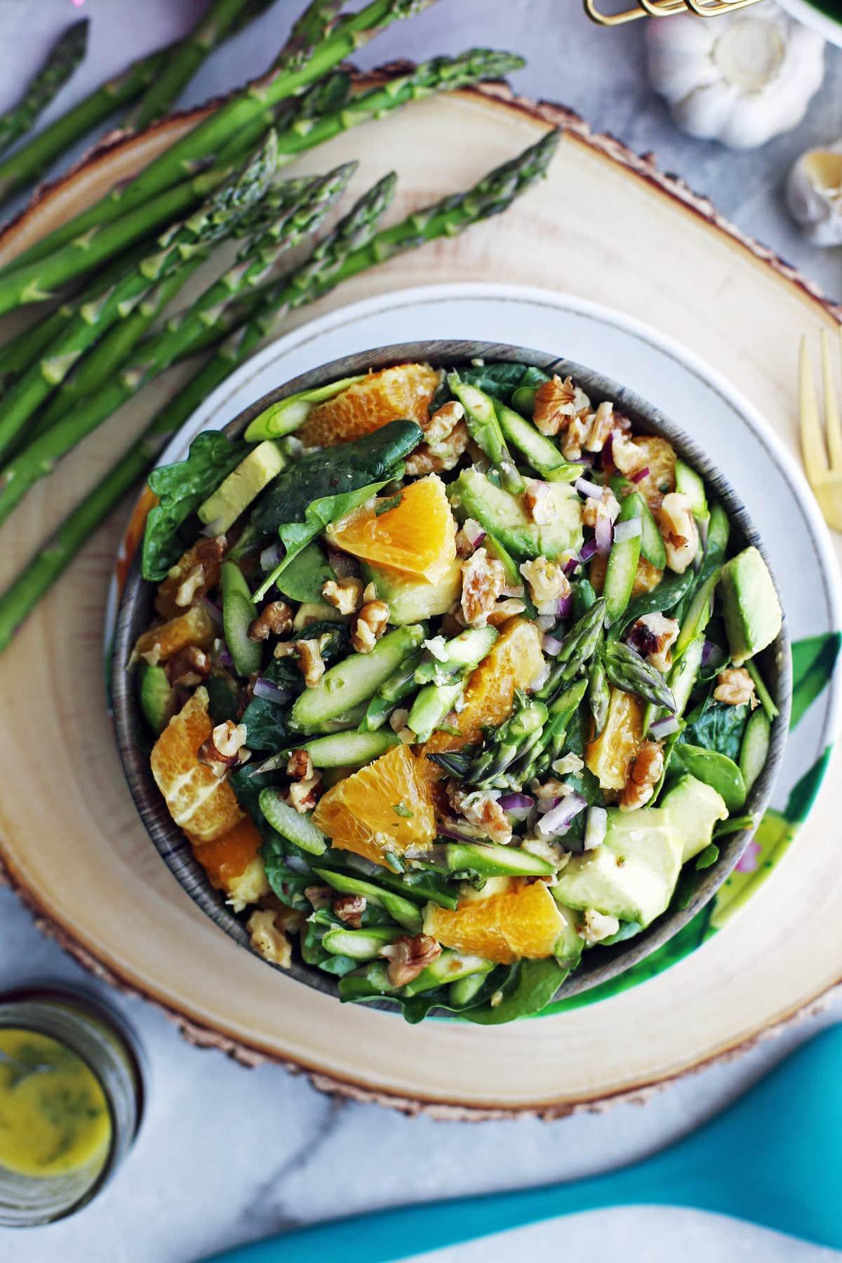 40 delicious & healthy vegan salad recipes picture of asparagus orange salad for recipe roundup