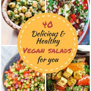 40 delicious & healthy vegan salad recipes in a 4 picture collage