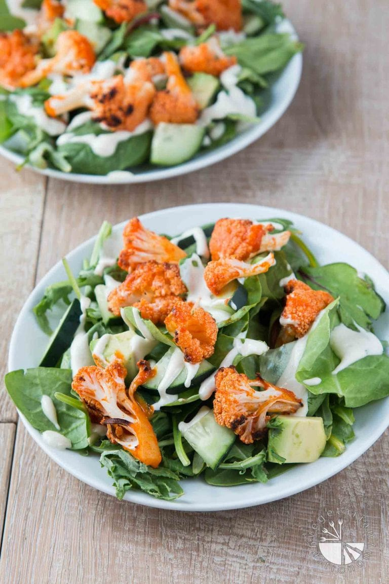40 delicious & healthy vegan salad recipes picture of buffalo cauliflower salad fro recipe roundup