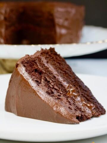 slice of vegan chocolate cake on a white plate