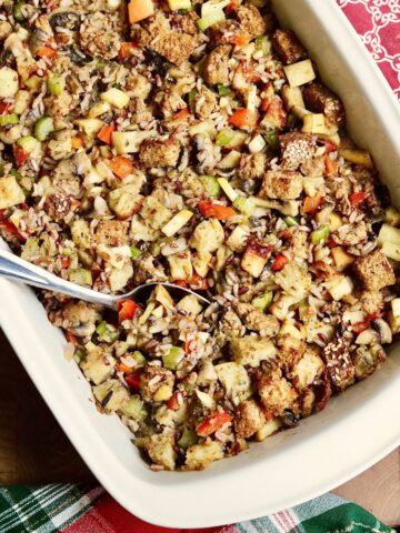 vegan wild rice stuffing baked in a casserole dish