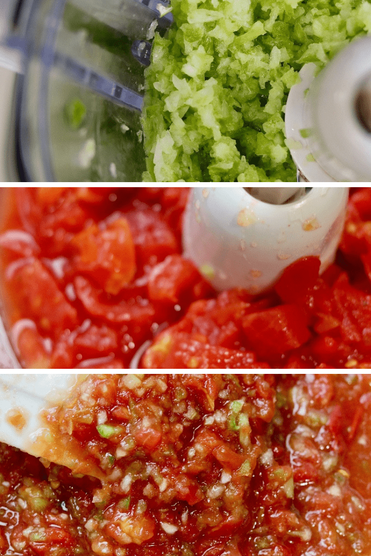 best salsa recipe collage being mixed in a food processor