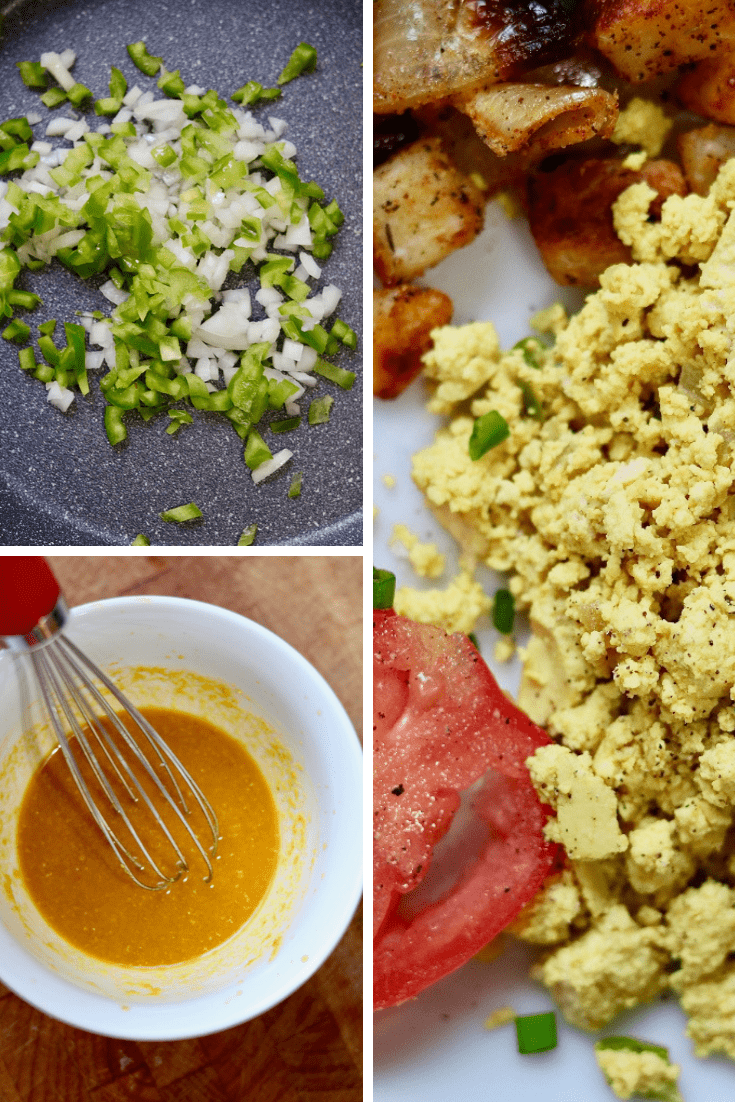 step by step illustrations collage of tofu scrambled eggs being made