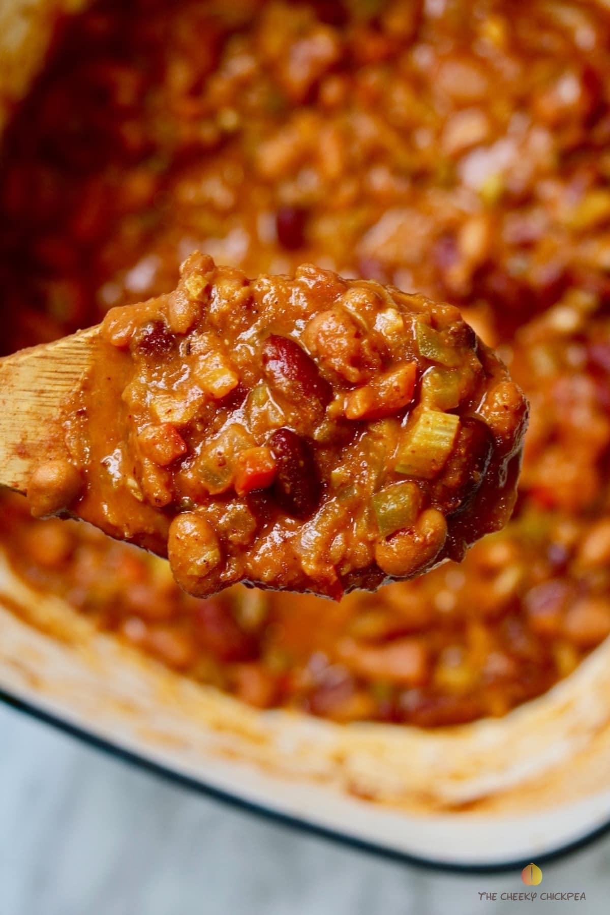vegan Chili on a wooden spoon