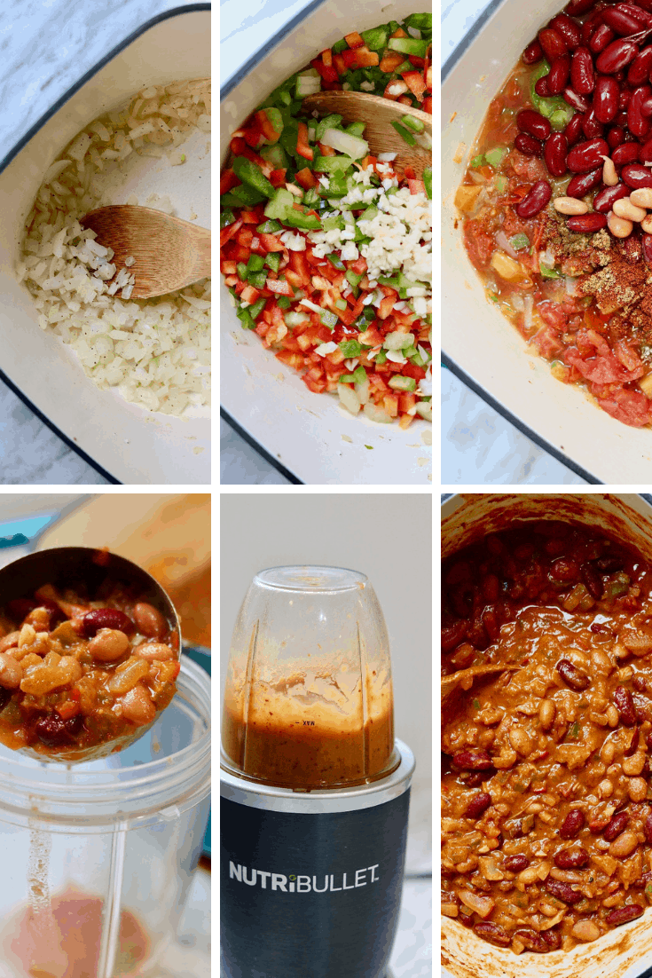 six picture collage how to make vegan chili