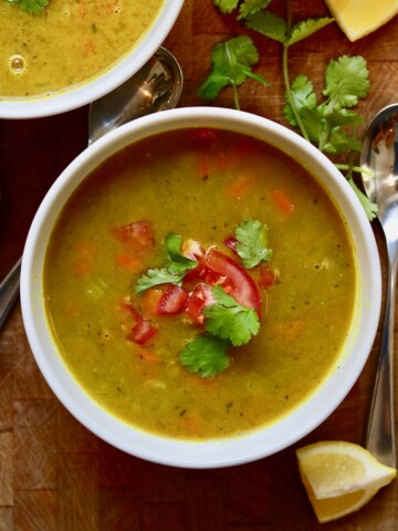 mulligatawny soup in a white bowl