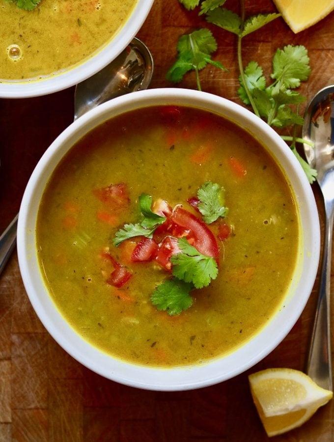 mulligatawny soup in a white bowl
