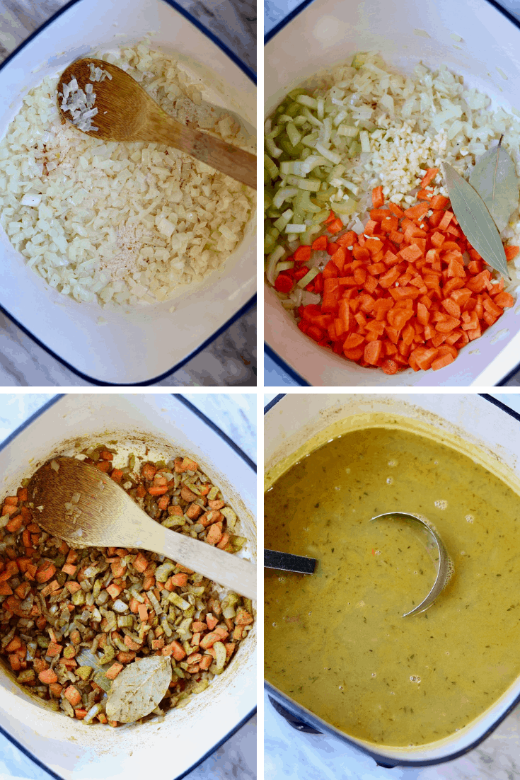 mulligatawny soup being made in a step by step four picture collage