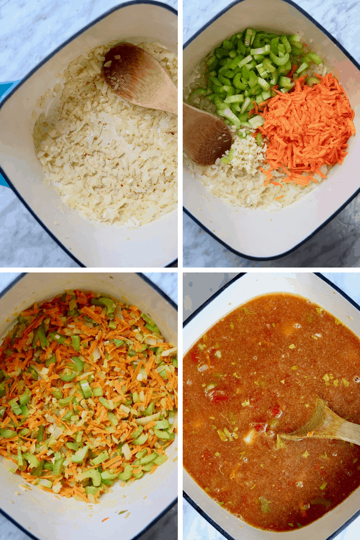 a four step picture of vegan hamburger soup being made