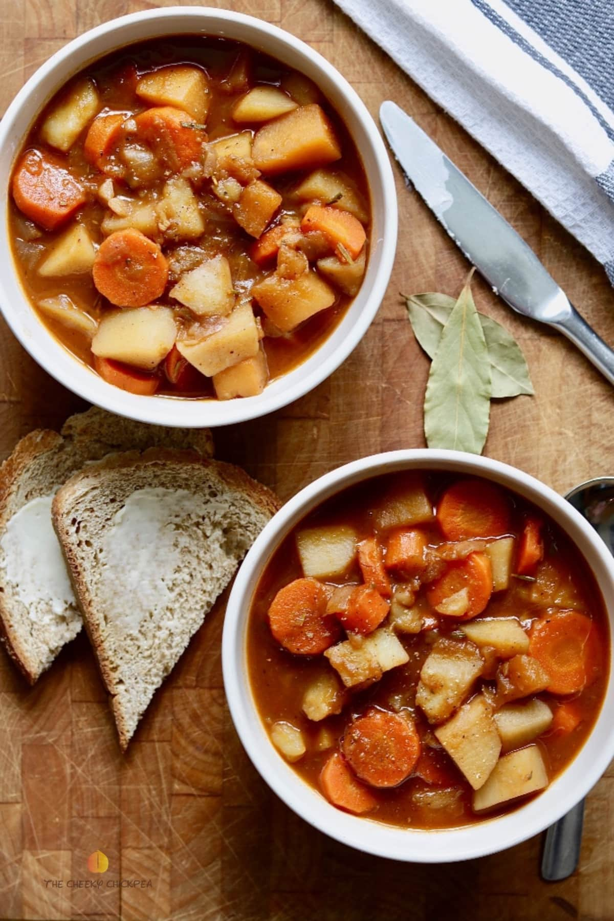 two bowls of hearty vegan stew