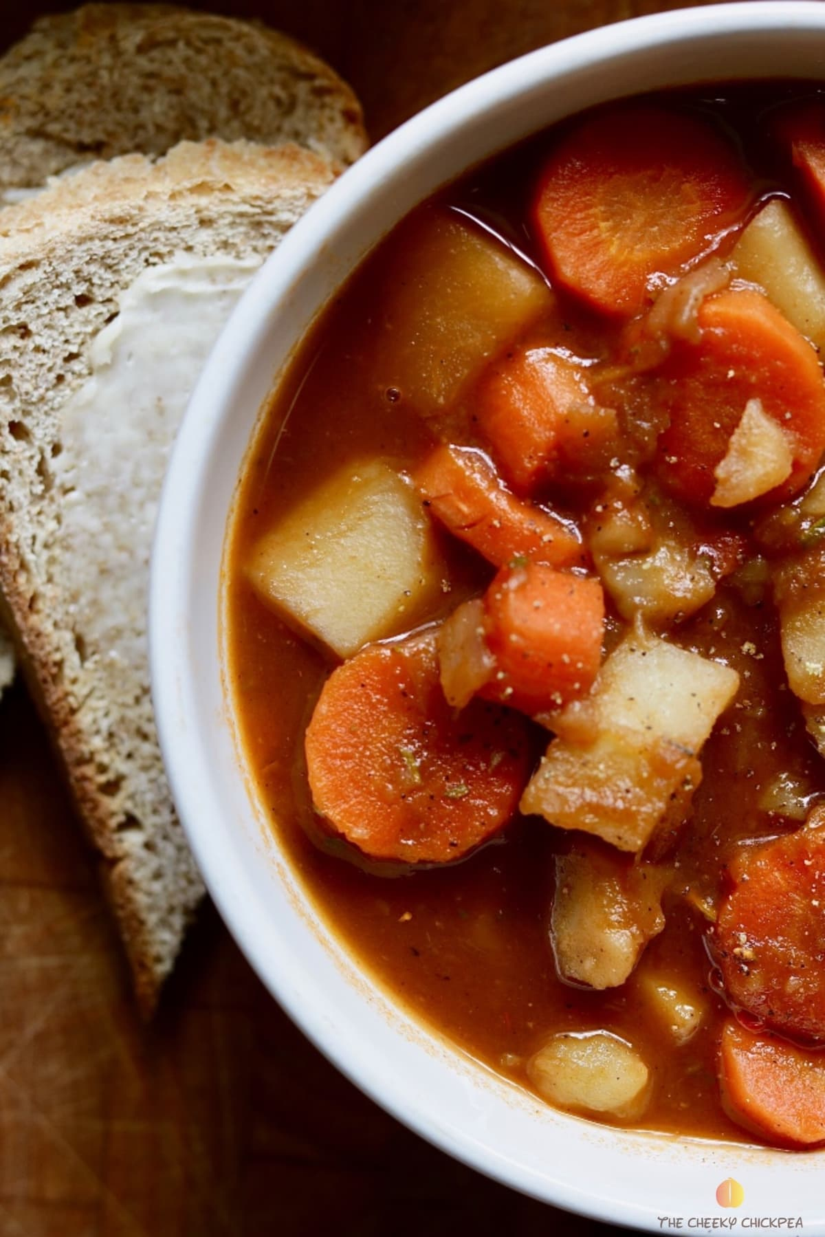 close up picture of a bowl of hearty vegan stew