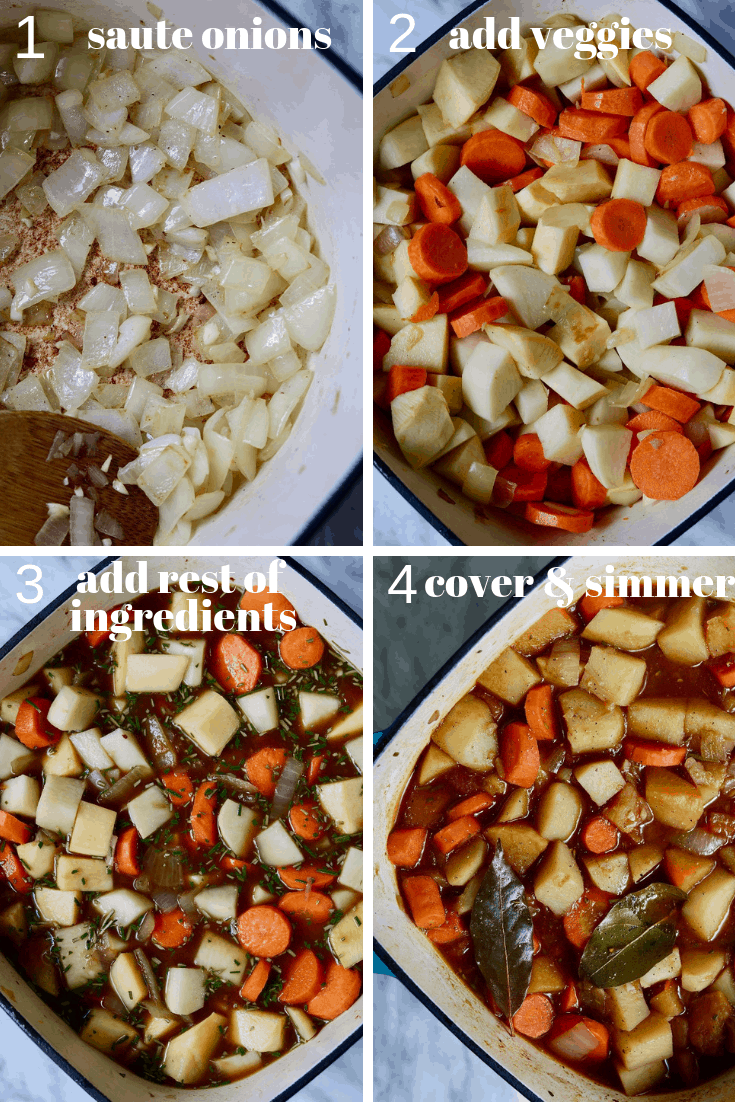 4 step by step photos of hearty vegan stew being made