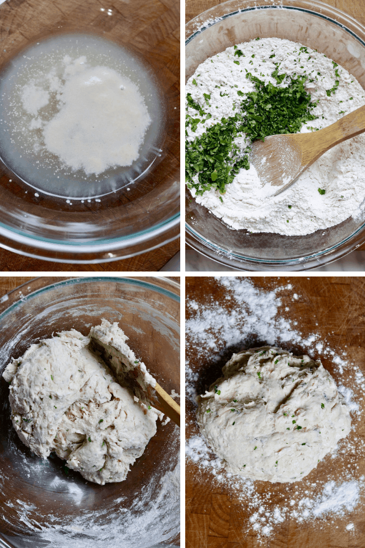 four photo step by Step how to make vegan naan