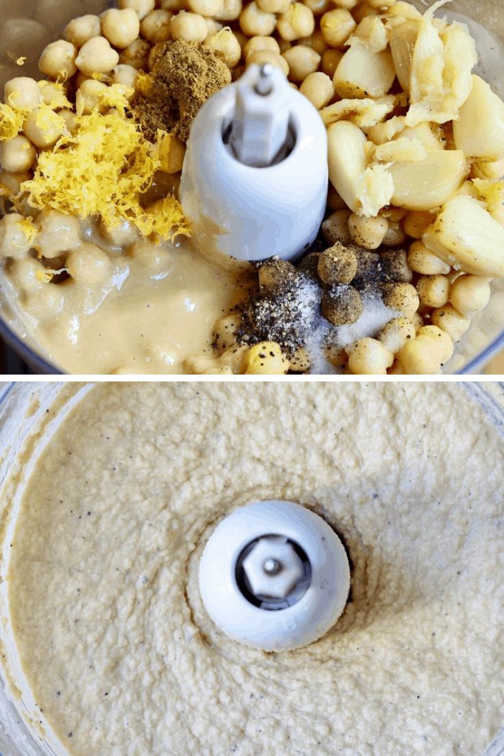 two step photos how to make homemade hummus