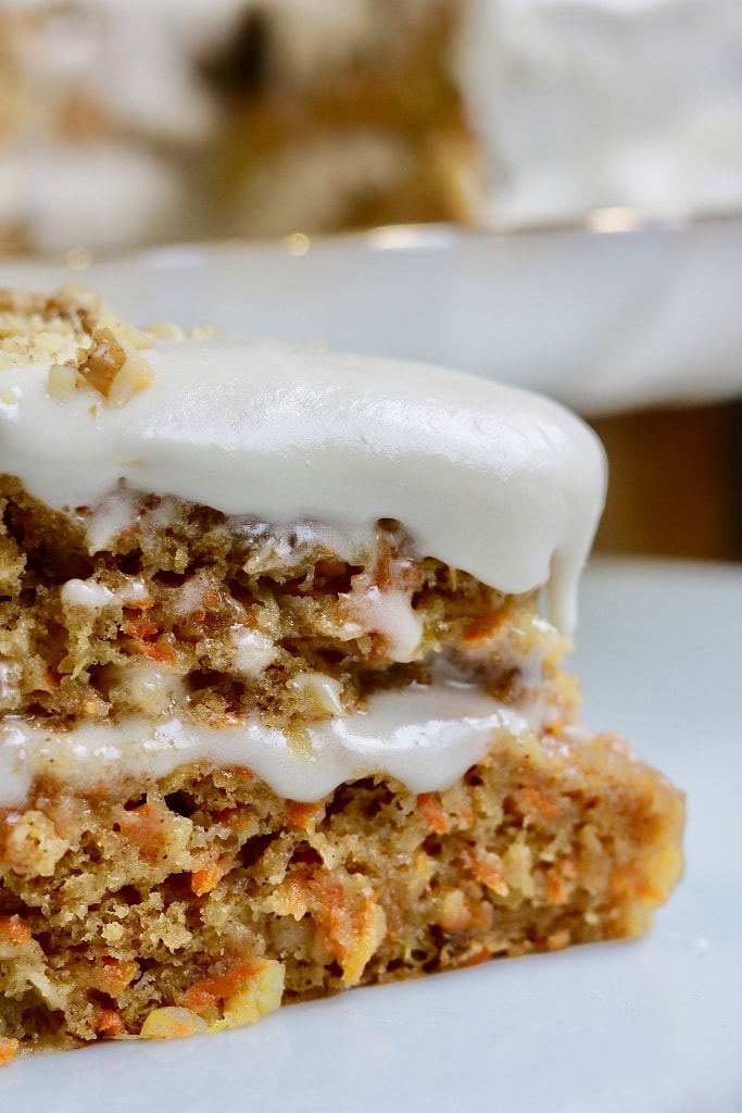 vegan carrot cake on a white plate